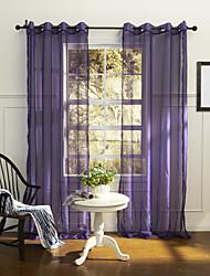 país de un panel de cortinas transparentes de poliéster dormitorio púrpura sólida tonos