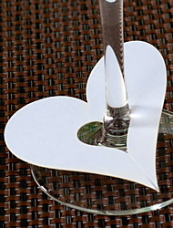 Place Cards and Holders Heart Shaped Place Cards for Wine Glass - Set of 12