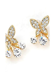 Delicate Dominate Bowknot Design Alloy Gold Plated with Rhinestone Stud Earrings