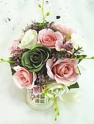 Delicate Free-form Rose Satin Wedding Bouquet