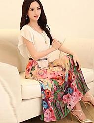 Women's Classic Sweet Floral Print Chiffon Irregular Maxi Dress
