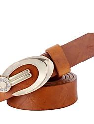 Женская мода Верблюд кожаный пояс с алмазными