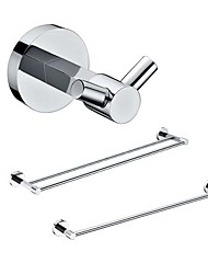 3 Packed Brass Bath Accessories Set,  Single and  Double Towel Bar/Robe Hook