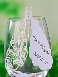 Place Cards and Holders Laser Cut Peacock Place Card for Wine Glass - Set of 12
