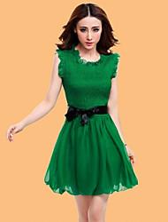 Mujeres Handu color sólido lindo corto vestido verde