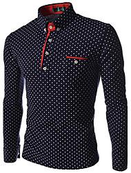 Debe Men's Lapel Neck Polka Dots Long Sleeve T-Shirt