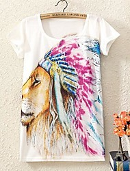 Women's Print T-shirt , Casual/Print/Cute Short Sleeve