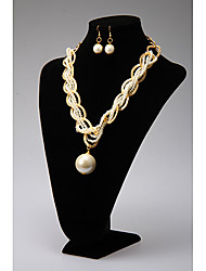 Rich Long Knit Pearl Necklace And Earring Suit YL00421