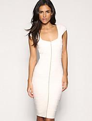 MILU Women's Europe Elegant Slim Fit High Waist Sleeveless Dress(White)
