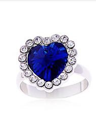 Mengguang Women'sDiamond corazón cristalino del corazón del anillo de diamante del océano