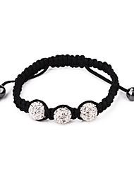 Classic 10cm de las mujeres del encanto de Shambhala 3-Resina-pulsera de los granos (Blanco, Negro, Rosa) (1 PC)