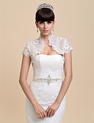 Wedding  Wraps Shrugs Short Sleeve Organza Ivory Wedding / Party/Evening Open Front