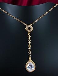 Plata elegante Latón plateado con el collar de la mujer de cubic zirconio (más color)