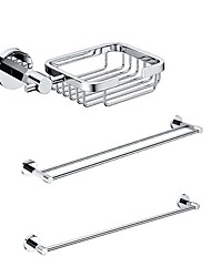 3 Packed Brass Bath Accessories Set,  Single and  Double Towel Bar/Soap Basket