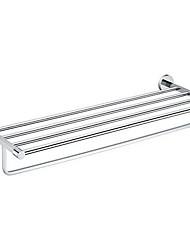 Chrome Finishd Solid Brass 24 Inch Bathroom Shelf With Towel Bar