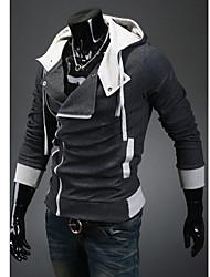 Coreano Bodycon velo Lazer Dark Gray Hoodie dos homens Wshgyy