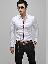 Casual coréenne à manches longues de couleur Blanc Plein shirt Fengshang hommes