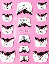 3D Flowering Straw Pattern Rhinestone French Lace Nail Art Stickers XF Series