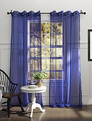 país de un panel de cortinas transparentes de poliéster habitación azul sólido tonos