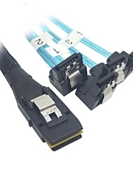 100cm Mini SAS 4i SFF-8087 36 Pin Host to 90 Degree Angled 4 SATA 7Pin Target HDD Hard Drive Splitter Cable 10Gbps