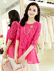 Women's Solid/Lace Pink/Yellow Shirt , Round Neck Short Sleeve Lace