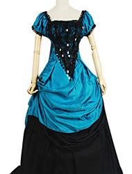Noble Reina Azul y Negro Gothtic Lolita vestido Algodón