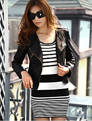 Women's New Punk Slim Leather Motorcycle Coat