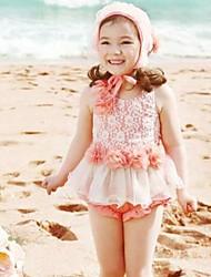 Niña Lolita Dividir princesa Skirt Lace Swimwear Sombrero Incluido