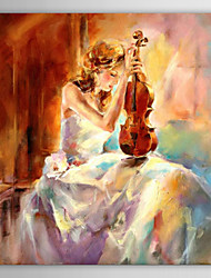 Oil Painting People The Girl Playing The Violin with Stretched Frame Hand-Painted Canvas