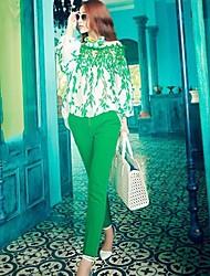 Frauen-Horizontal-Ausschnitt Lace Stickerei Chiffon Top Shirt