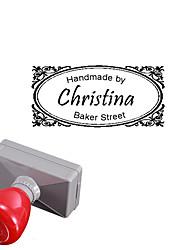 mariage de 33x63mm personnalisé& entreprise de style arabesque 3 lignes gravées rectangle timbre chevalière photosensible (15 lettres)