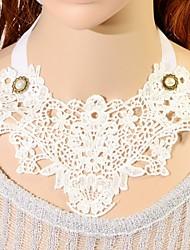 Elonbo élégante dentelle Style Blanc vieilli Gothic Lolita collier collier pendentif foulard bijoux