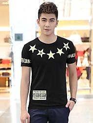 Floral preto dos homens Fhonier Imprimir 100% T-shirt de manga curta de algodão