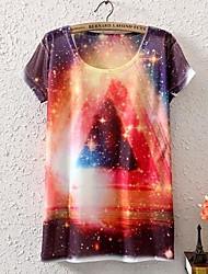 Padrões Nebulosa moda feminina curta T-shirt Neck Sleeve Tripulação