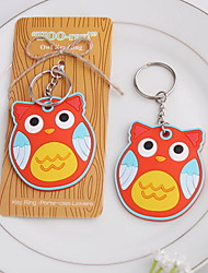 Orange Plastic Owl Key Ring