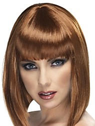 Capless Short Golden Brown Wavy High Quality Synthetic Japanese Kanekalon Wigs