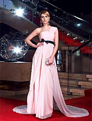 ts couture® vestido de noite formal - sexy / traseira aberta / size elegante plus / petite uma linha de um ombro chiffon trem capela com