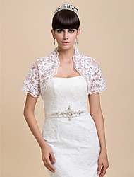 Wedding  Wraps Shrugs Short Sleeve Lace White Wedding / Party/Evening Open Front
