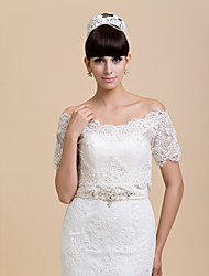 Wedding  Wraps Shrugs Short Sleeve Lace Ivory Wedding / Party/Evening Lace-up