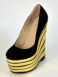 BC Suede Women's Gold Stripe Wedge Heel Shoes