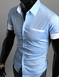 GEZI Men's Contrast Color Lapel Short Sleeve Shirt(White,Navy Blue,Light Blue)