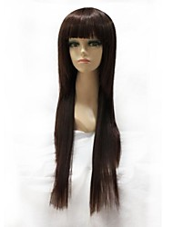 Capless Synthetic Long Straight  Full Bang Synthetic Hair Full Wig
