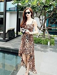 Женская Нерегулярные ремни шкуру леопарда шаблон платье