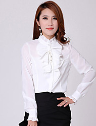 HeMaLiSha Women's Simple Solid Color Long Sleeve Slim Chiffon Shirt(White)