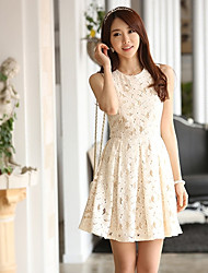 Women's Elegant Lace High Waist Pleat Ball Gown Midi Dress