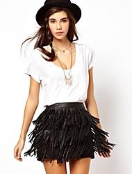 Women's Pu Leather Tassel Skirt