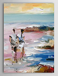 Hand Painted Oil Painting Landscape Lovers Walking Alone Beach Painting with Stretched Frame