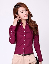 Women's Solid Red/White Blouse , Shirt Collar Long Sleeve Button