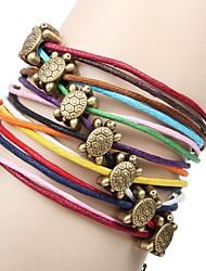 Multicolor Couro Turtle 20 centímetros Vintage Wrap Mulheres pulseira (Multicolor) (1 Pc)