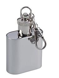Mini portátil de aço inoxidável Keychain Flask Wine Pot - prata (30 ml)